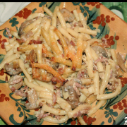 Macaronis Carbonara en gratin