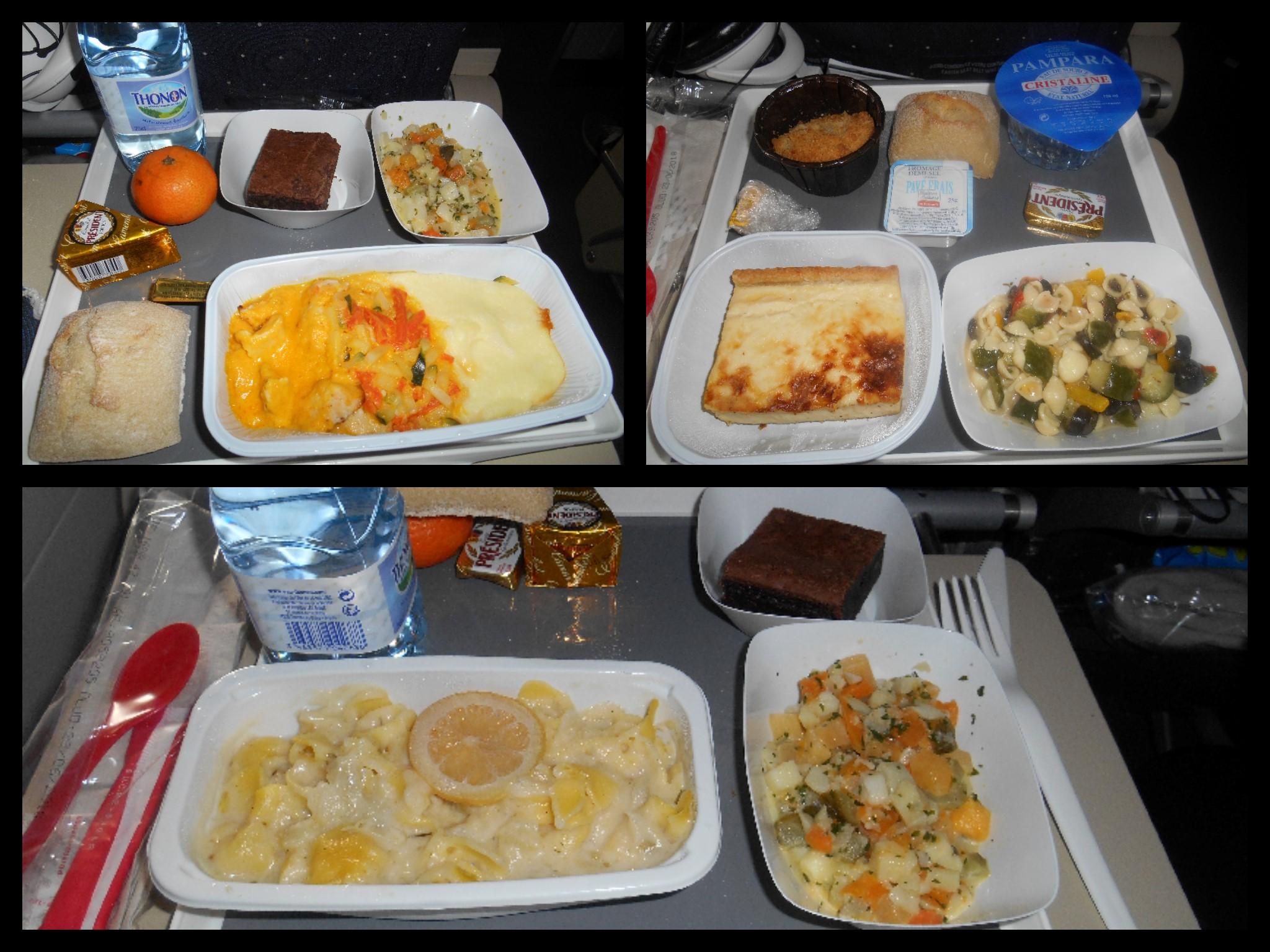 Différents Repas dans l'A380. C'était très bon !!