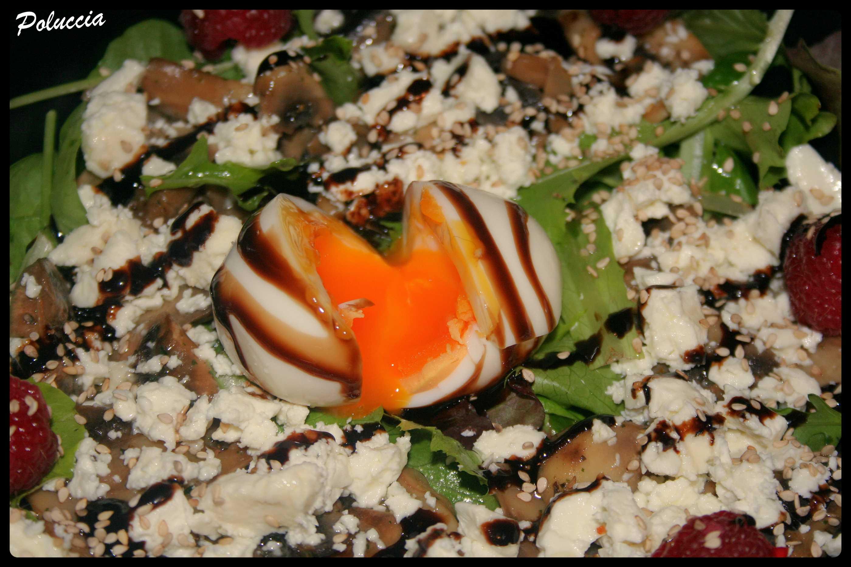 salade de jeunes pousses uf mollet champignons feta a cantina di poluccia cuisine. Black Bedroom Furniture Sets. Home Design Ideas
